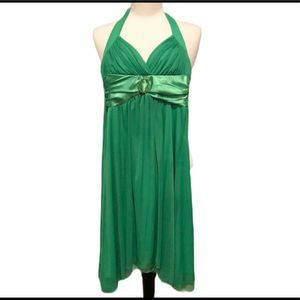 Open Back Asymmetrical Formal Dress Green Small